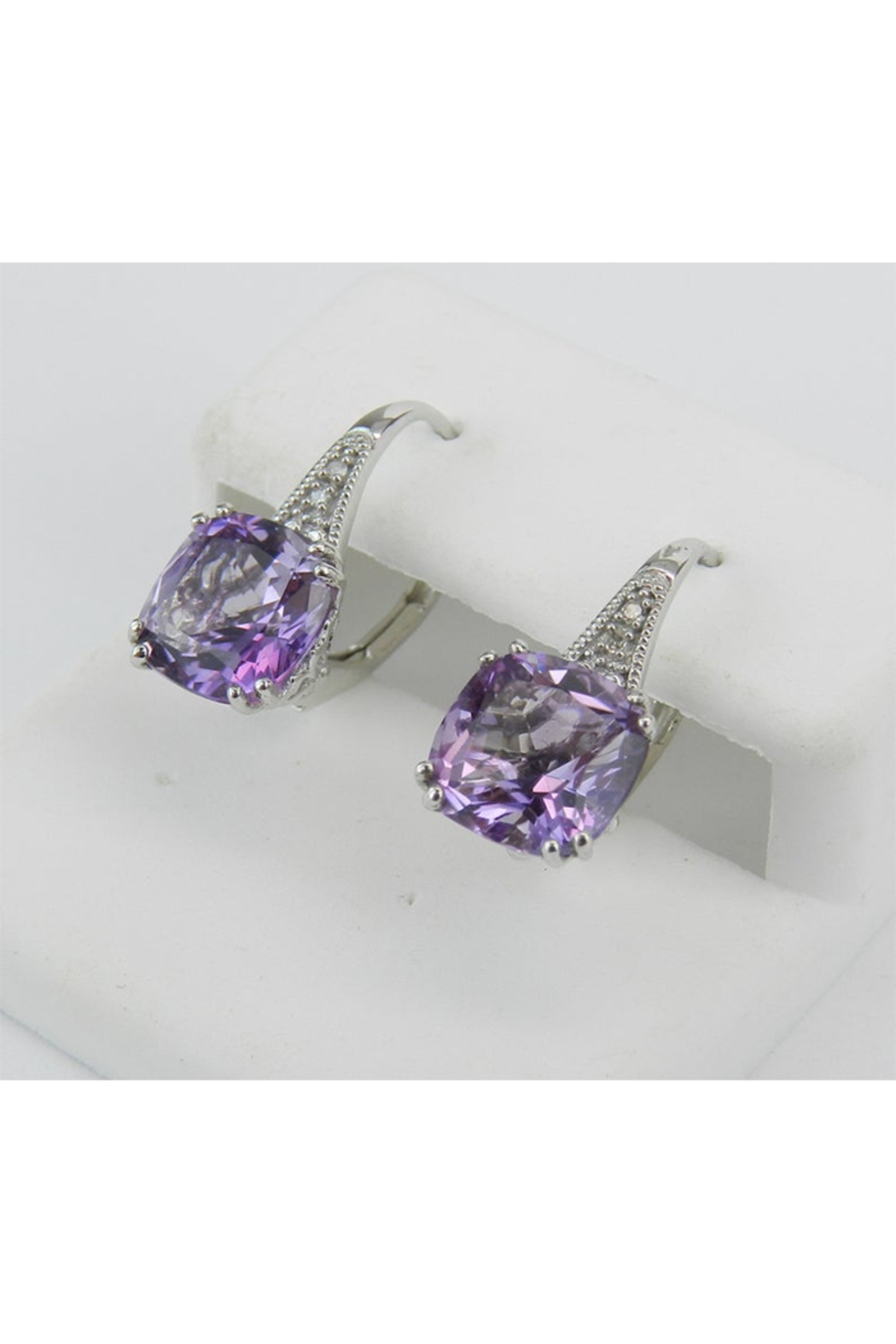 Margolin & Co 14K White Gold Diamond and Cushion Cut Amethyst Drop Earrings February Birthday - Side Cropped Image