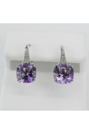 Margolin & Co 14K White Gold Diamond and Cushion Cut Amethyst Drop Earrings February Birthday - Product Mini Image