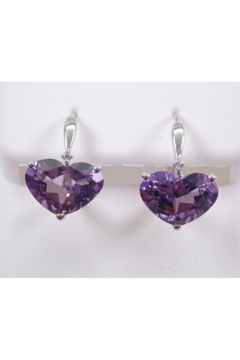 Margolin & Co 14K White Gold Diamond and Heart Amethyst Drop Earrings February Birthday Leverback - Product List Image
