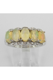 Margolin & Co 14K White Gold Diamond and Opal Anniversary Ring Band Size 6.75 October Gemstone - Product Mini Image