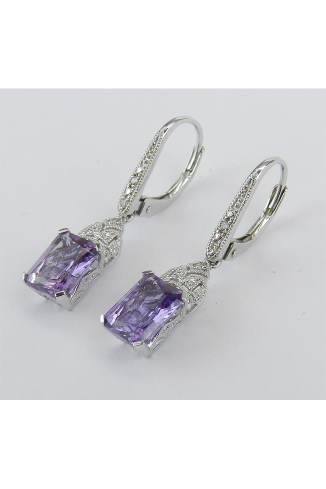 Margolin & Co 14K White Gold Diamond and Radiant Cut Amethyst Drop Earrings February Birthday - Side Cropped Image