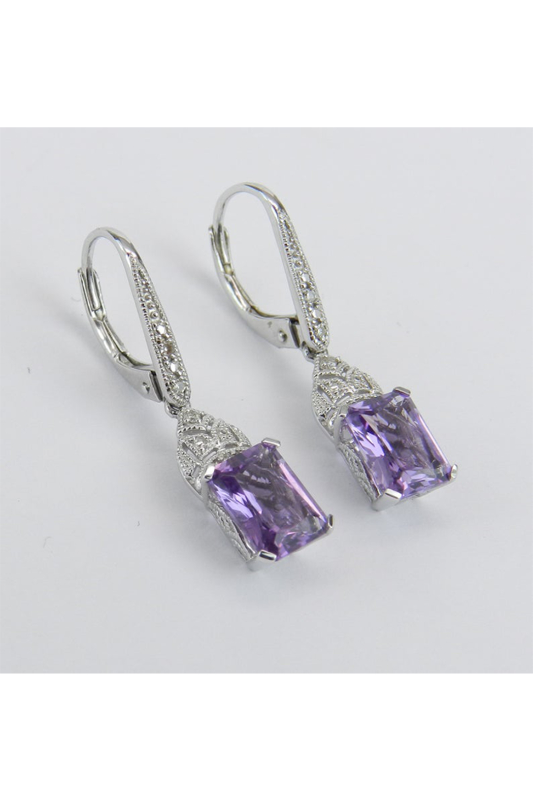 Margolin & Co 14K White Gold Diamond and Radiant Cut Amethyst Drop Earrings February Birthday - Front Full Image