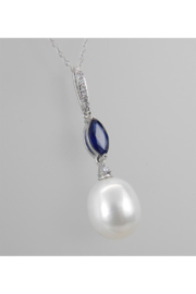 Margolin & Co 14K White Gold Diamond Sapphire and Pearl Pendant Necklace with Chain 18