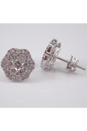 Margolin & Co 14K White Gold Diamond Studs Cluster Stud Flower Earrings Diamond Unique Gift Studs - Front cropped