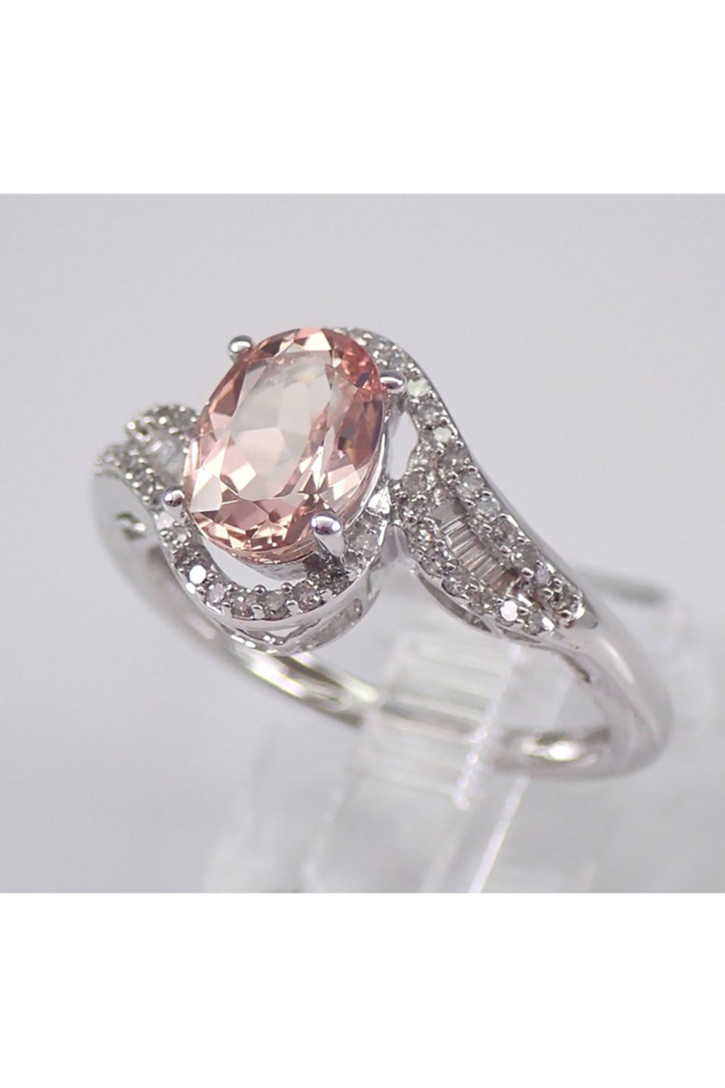 Margolin & Co 14K White Gold Morganite and Diamond Engagement Ring - Side Cropped Image