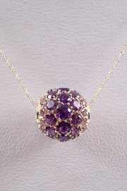 Margolin & Co 14K Yellow Gold 2.50 ct Amethyst Cluster Rondelle Necklace Pendant 18