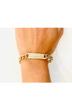 Jen Collection  14K Yellow Gold and Pave Diamond Curb Link Bracelet (dia .974ct) - Alternate List Image