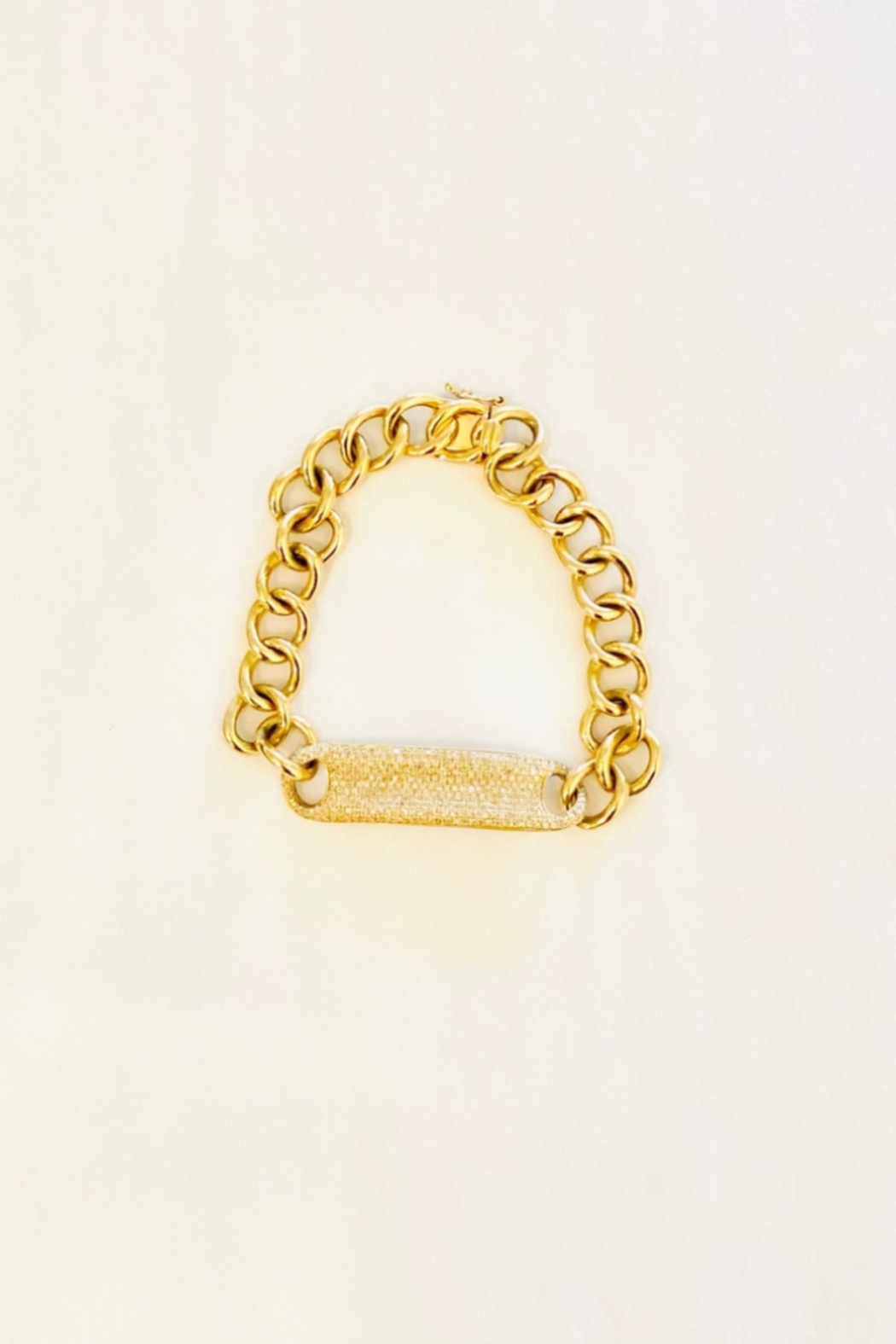 Jen Collection  14K Yellow Gold and Pave Diamond Curb Link Bracelet (dia .974ct) - Front Full Image