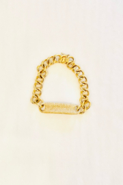 Jen Collection  14K Yellow Gold and Pave Diamond Curb Link Bracelet (dia .974ct) - Front full body
