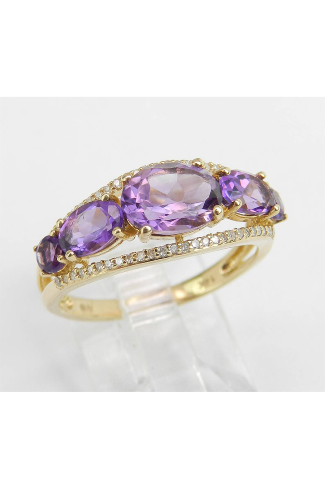Margolin & Co 14K Yellow Gold Diamond and Amethyst Cocktail Ring Anniversary Band Size 7 Stackable Look - Main Image