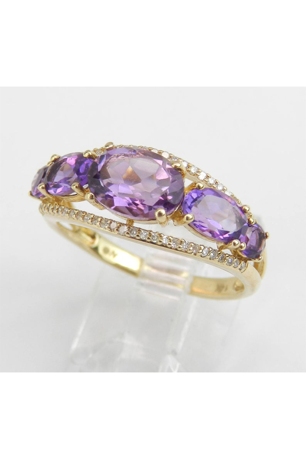 Margolin & Co 14K Yellow Gold Diamond and Amethyst Cocktail Ring Anniversary Band Size 7 Stackable Look - Side Cropped Image