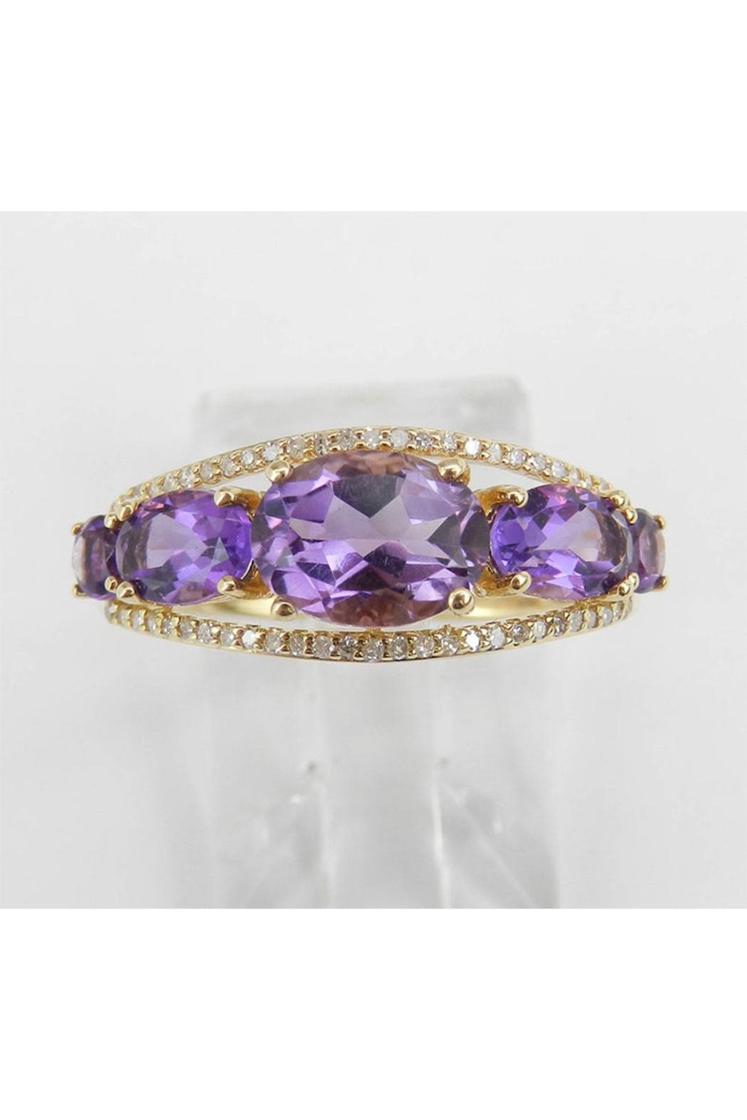 Margolin & Co 14K Yellow Gold Diamond and Amethyst Cocktail Ring Anniversary Band Size 7 Stackable Look - Front Full Image
