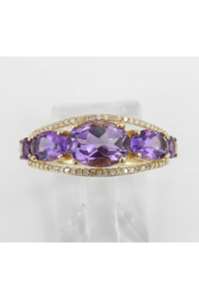 Margolin & Co 14K Yellow Gold Diamond and Amethyst Cocktail Ring Anniversary Band Size 7 Stackable Look - Front full body