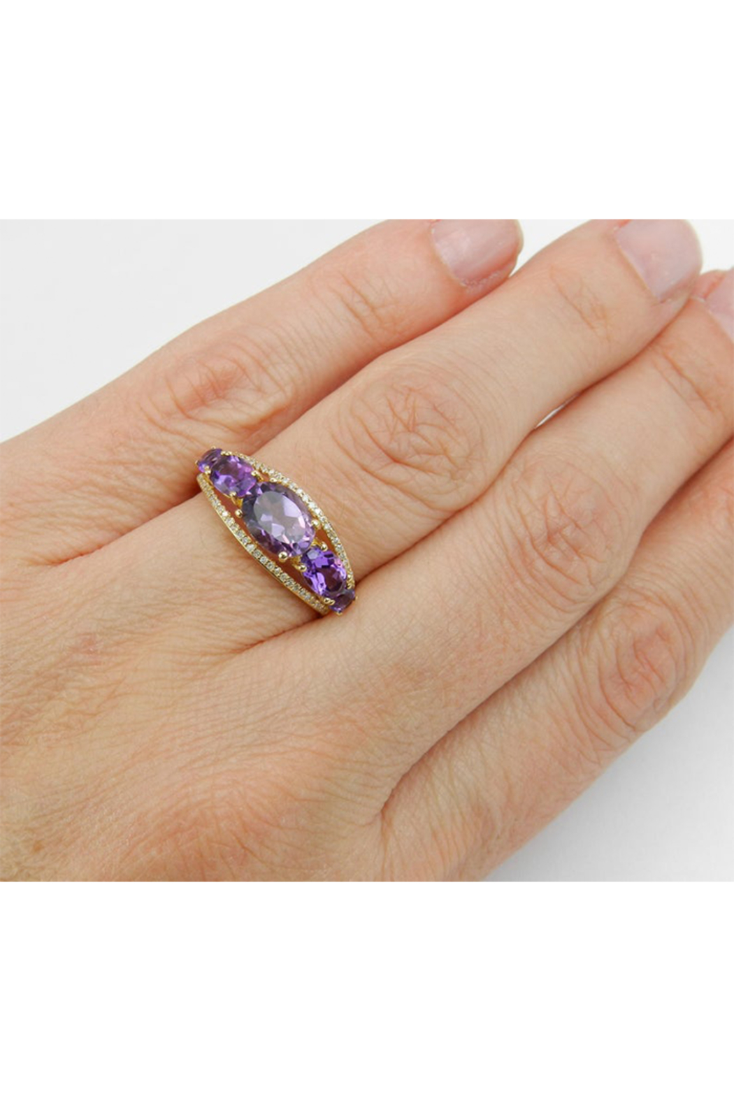 Margolin & Co 14K Yellow Gold Diamond and Amethyst Cocktail Ring Anniversary Band Size 7 Stackable Look - Back Cropped Image