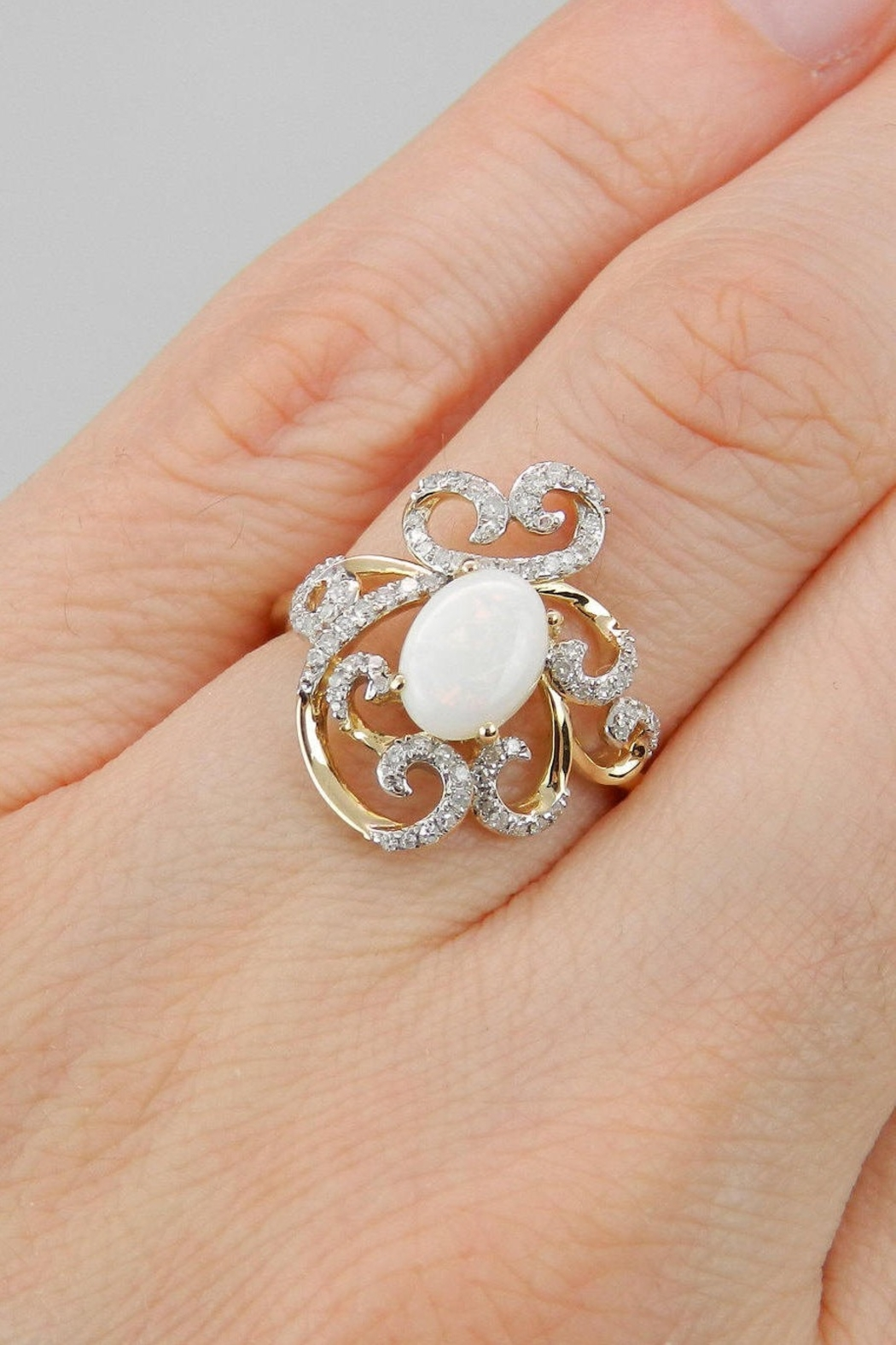 Margolin & Co 14K Yellow Gold Diamond and Opal Engagement Cocktail Ring Size 7 October Gem FREE Sizing - Back Cropped Image