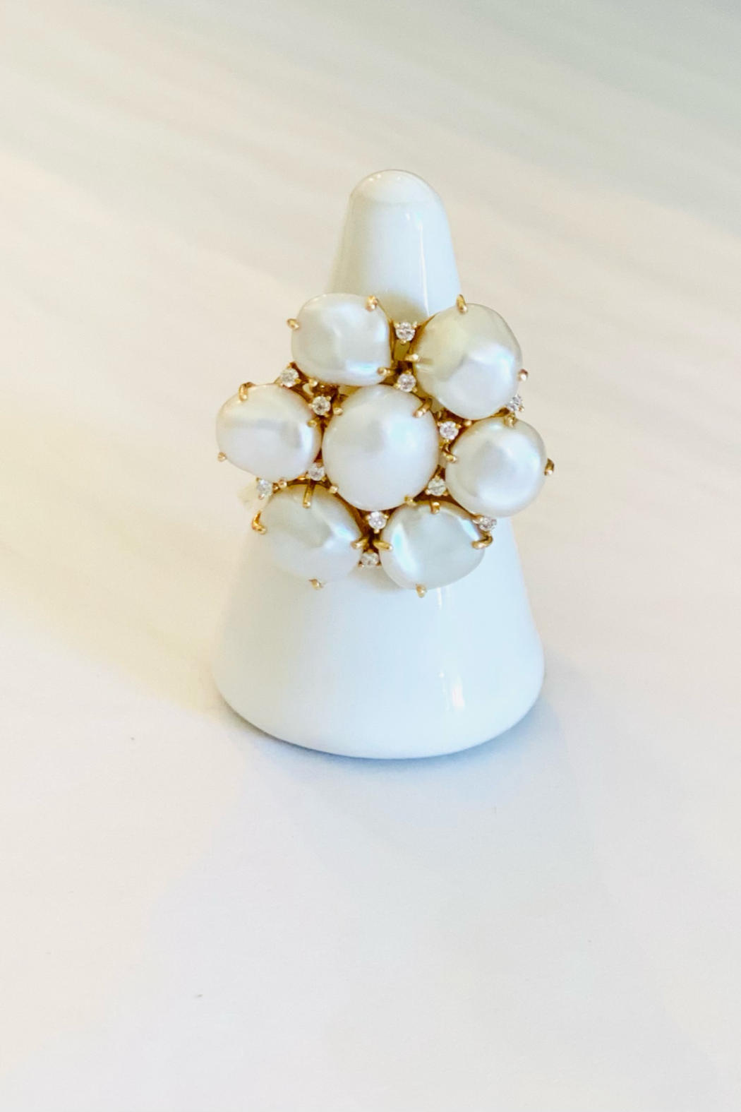 Jen Collection  14K Yellow Gold Diamond and Pearl Ring - Main Image