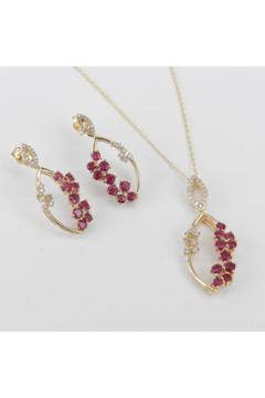 Shoptiques Product: 14K Yellow Gold Diamond and Ruby Pendant Necklace Dangle Drop Earrings Set