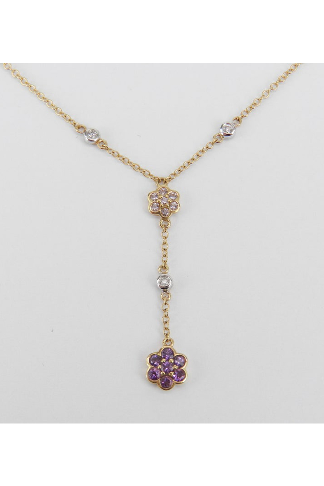 Margolin & Co 14K Yellow Gold Diamond, Tanzanite and Amethyst Flower cluster Necklace - Main Image