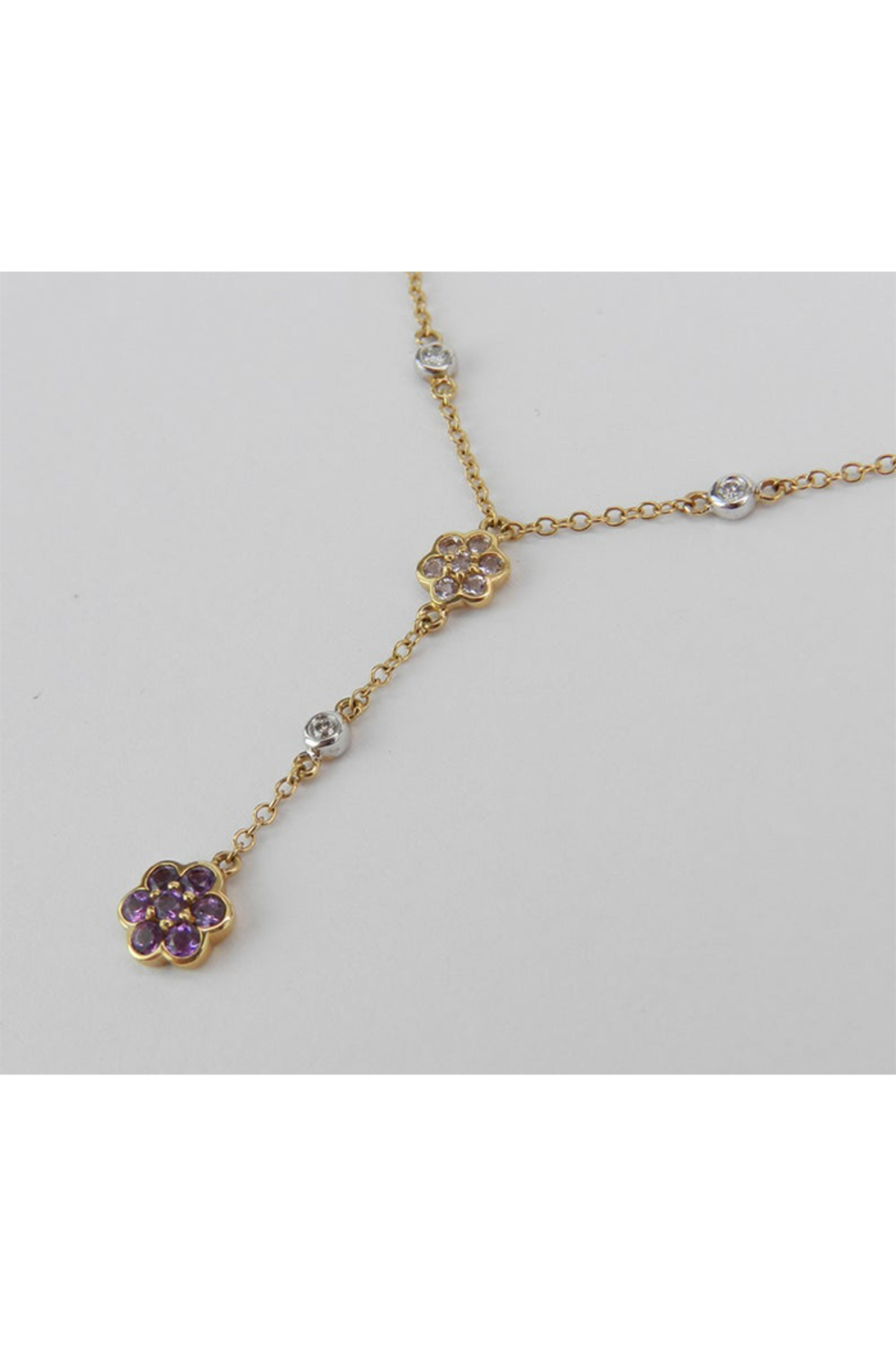 Margolin & Co 14K Yellow Gold Diamond, Tanzanite and Amethyst Flower cluster Necklace - Side Cropped Image