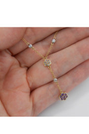 Margolin & Co 14K Yellow Gold Diamond, Tanzanite and Amethyst Flower cluster Necklace - Back cropped