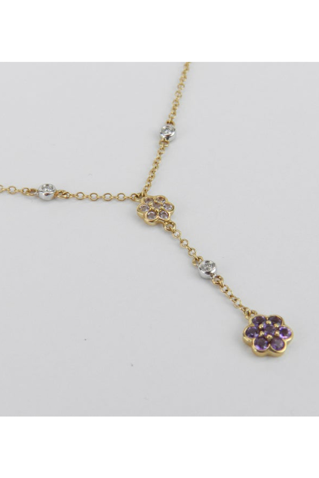 Margolin & Co 14K Yellow Gold Diamond, Tanzanite and Amethyst Flower cluster Necklace - Front Full Image