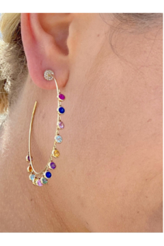 Jen Collection  14K Yellow Gold Hoops with Rainbow Sapphires Bezel Diamonds (sap 3. 75) - Product List Image