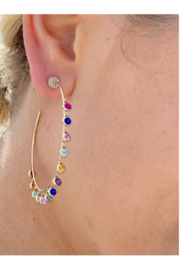 Jen Collection  14K Yellow Gold Hoops with Rainbow Sapphires Bezel Diamonds (sap 3. 75) - Product Mini Image