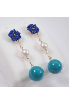Margolin & Co 14K Yellow Gold Lapis Lazuli Flower Turquoise Bead and Pearl Dangle Drop Earrings - Product List Image