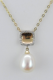 Margolin & Co 14K Yellow Gold Necklace, Diamond and Pearl Pendant, Wedding Necklace, Bridesmaids Gift, 16