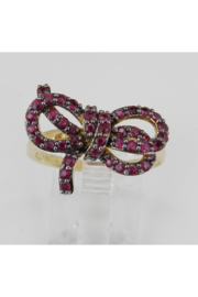 Margolin & Co 14K Yellow Gold Ruby Bow Tie Cluster Ring Size 7 July Birthstone - Product Mini Image