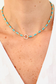 Jen Collection  14K Yellow Gold Turquoise Enamel Chain with Diamond Clasp - Product Mini Image
