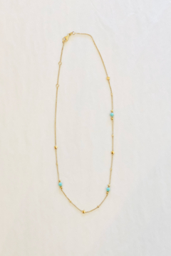 Jen Collection  14k Yellow Gold Turquoise Star Necklace - Alternate List Image