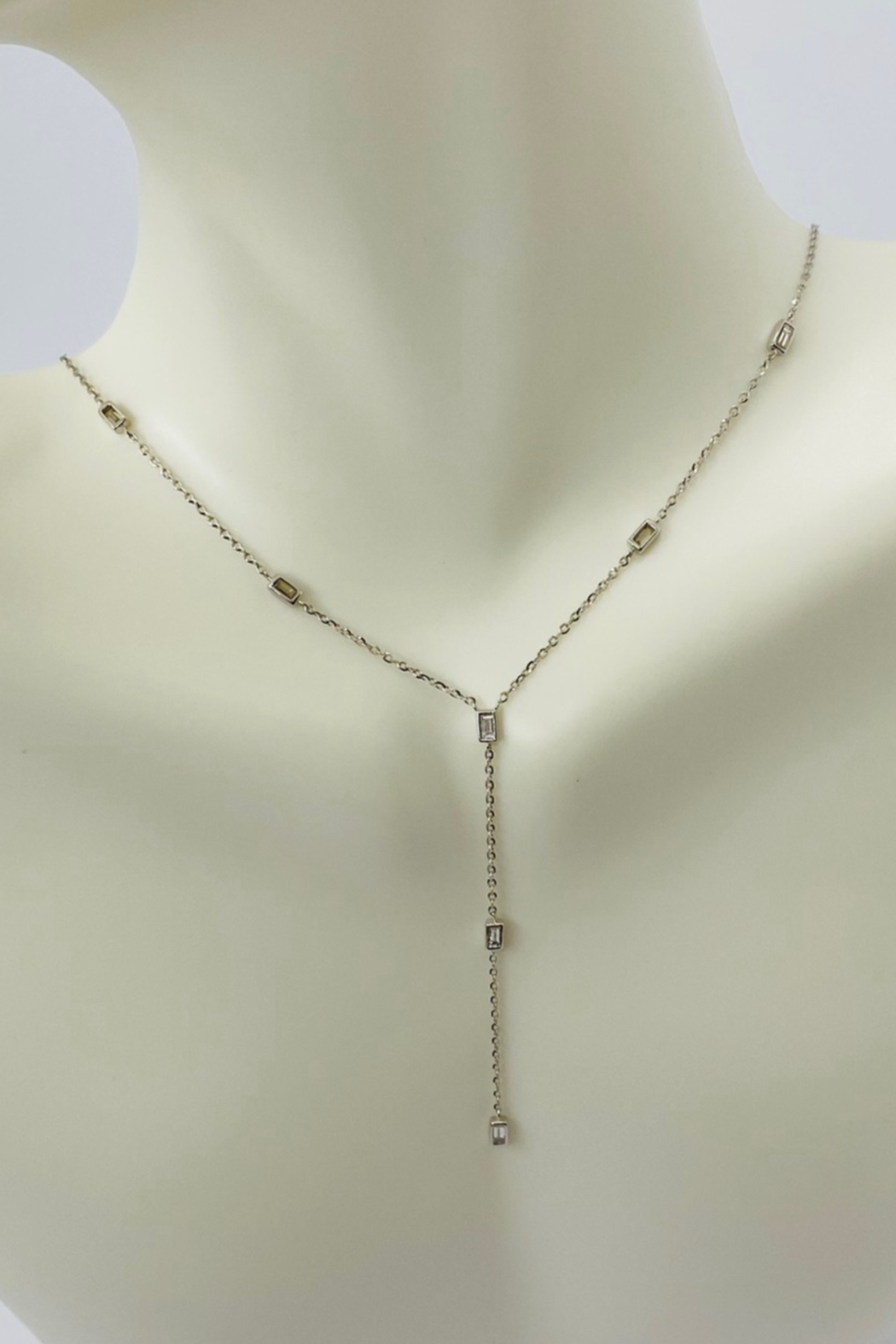 ... 14kt White Gold Baguette Diamond Necklace - Front Cropped Image