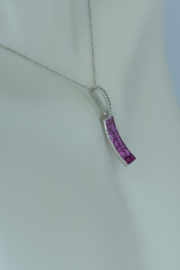 ... 14kt White Gold Pink Sapphire  & Diamond Necklace - Product Mini Image