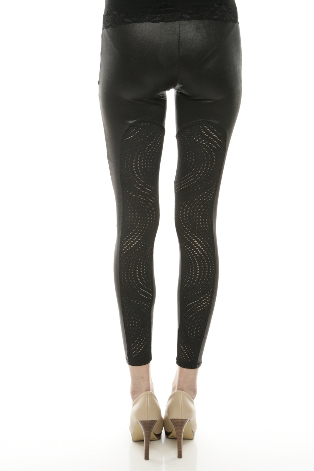 Mystree Circle-Cutout Leggings - Back Cropped Image