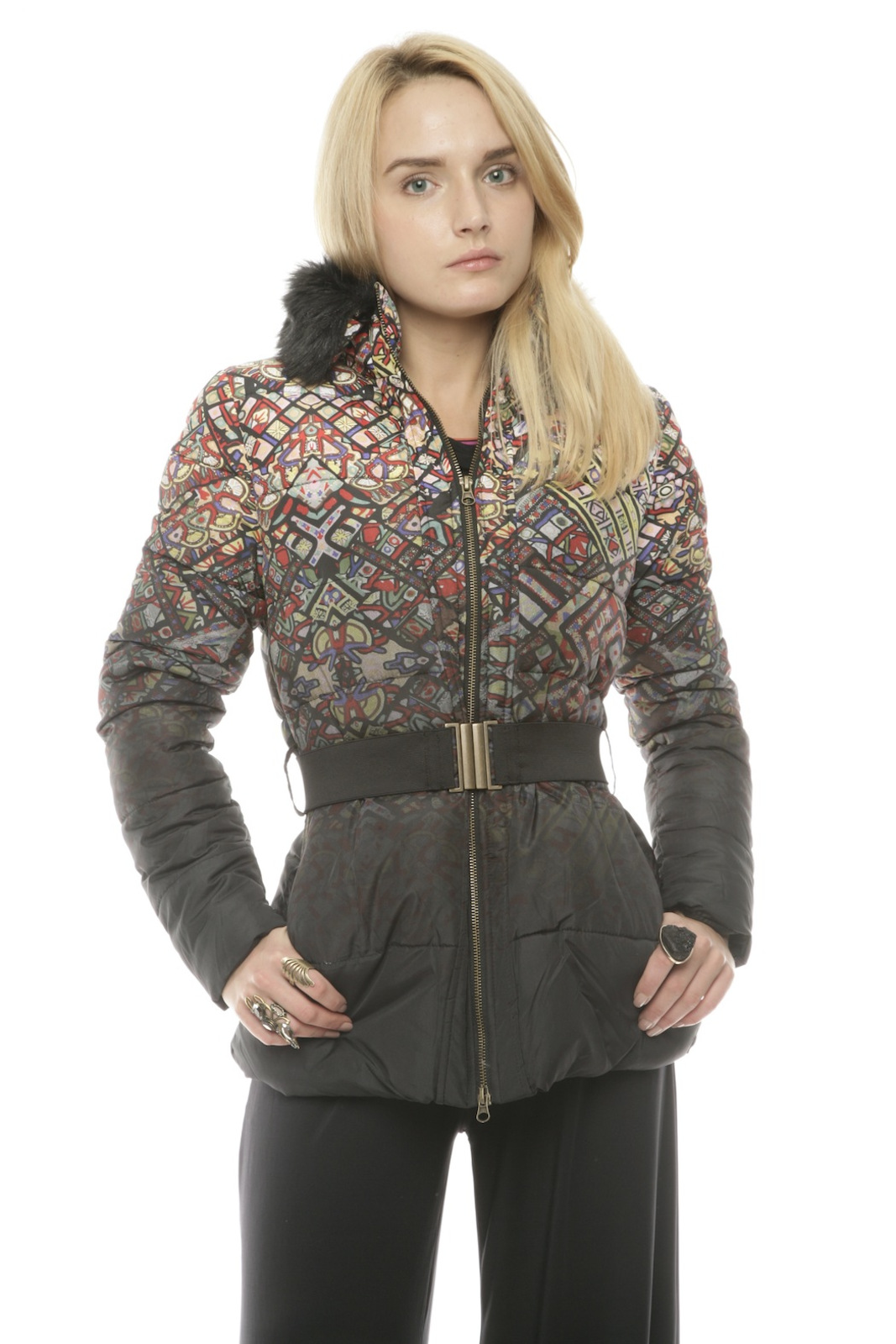 59e97b802d6e DESIGUAL Faux-Fur Belted Puffer Coat from Arvada by bella A boutique ...