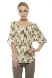 Shoptiques Product: Printed Top With Braided Belt