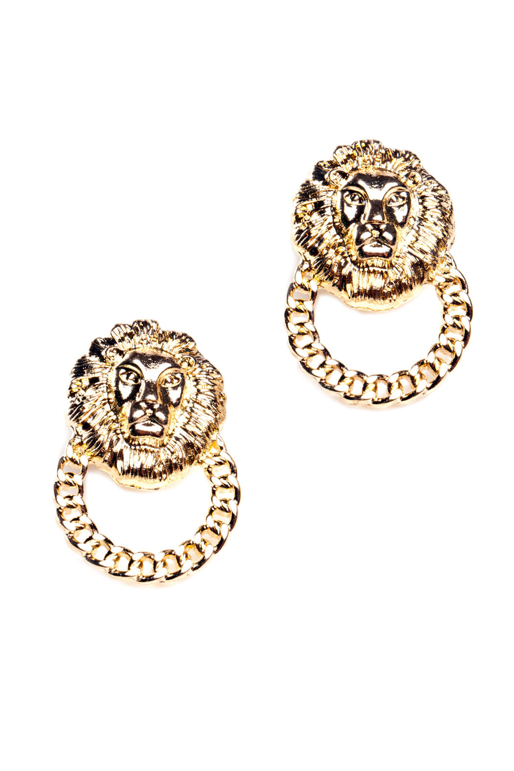 Number A Lion Knocker Earrings - Main Image