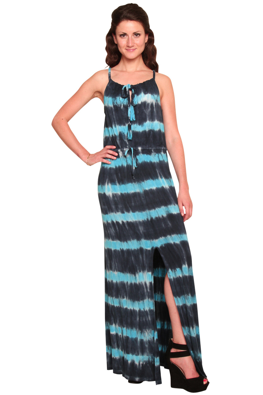 Young Fabulous & Broke Tie-Dyed Maxi Dress - Front Cropped Image
