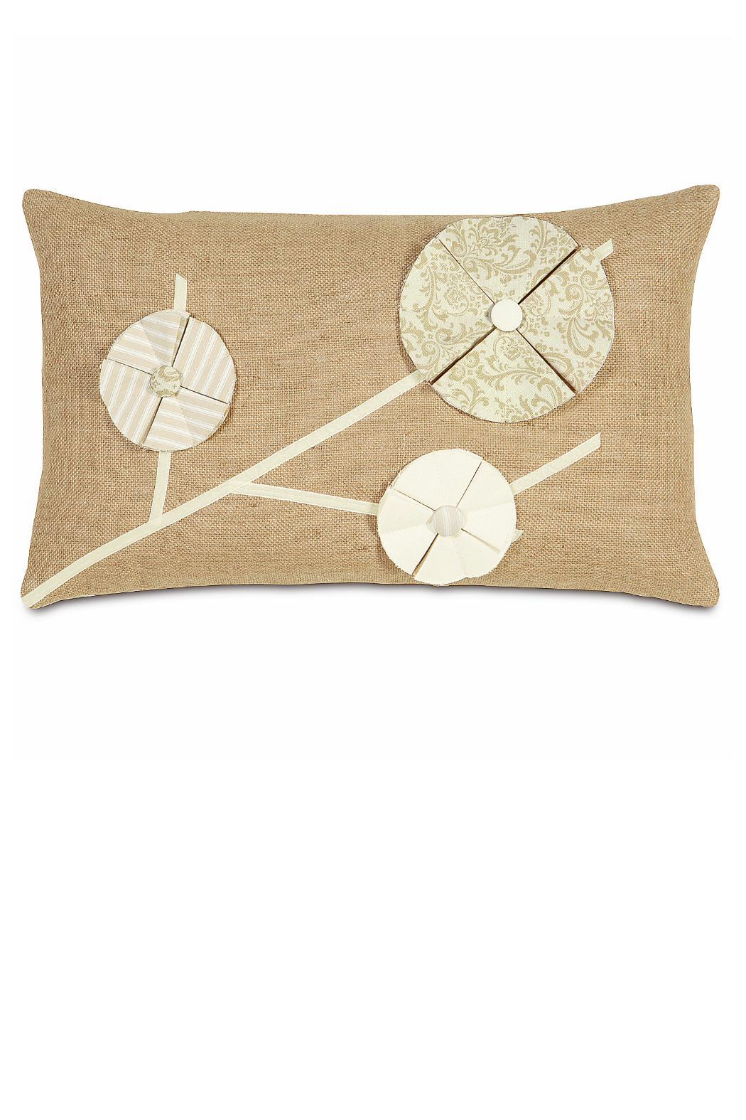 Burlap Flower Pillow - Front Cropped Image