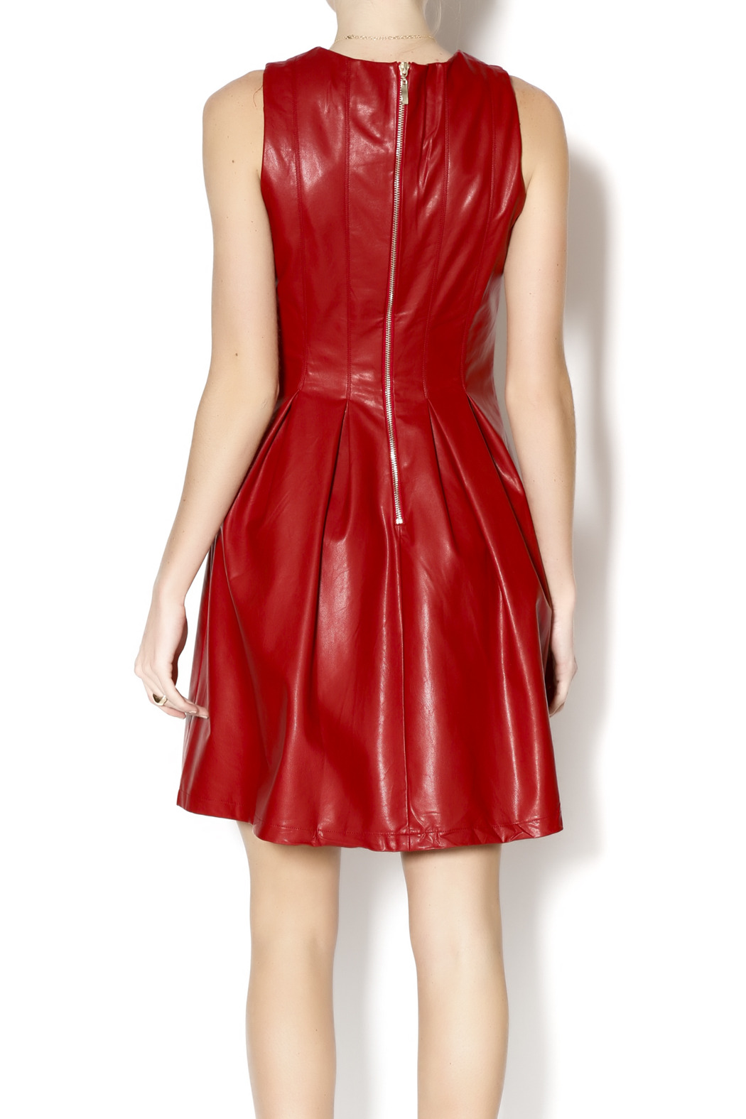 Red pleather dress
