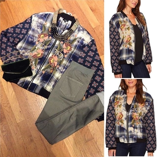 Shoptiques Product: Embroidered Bomber Jacket