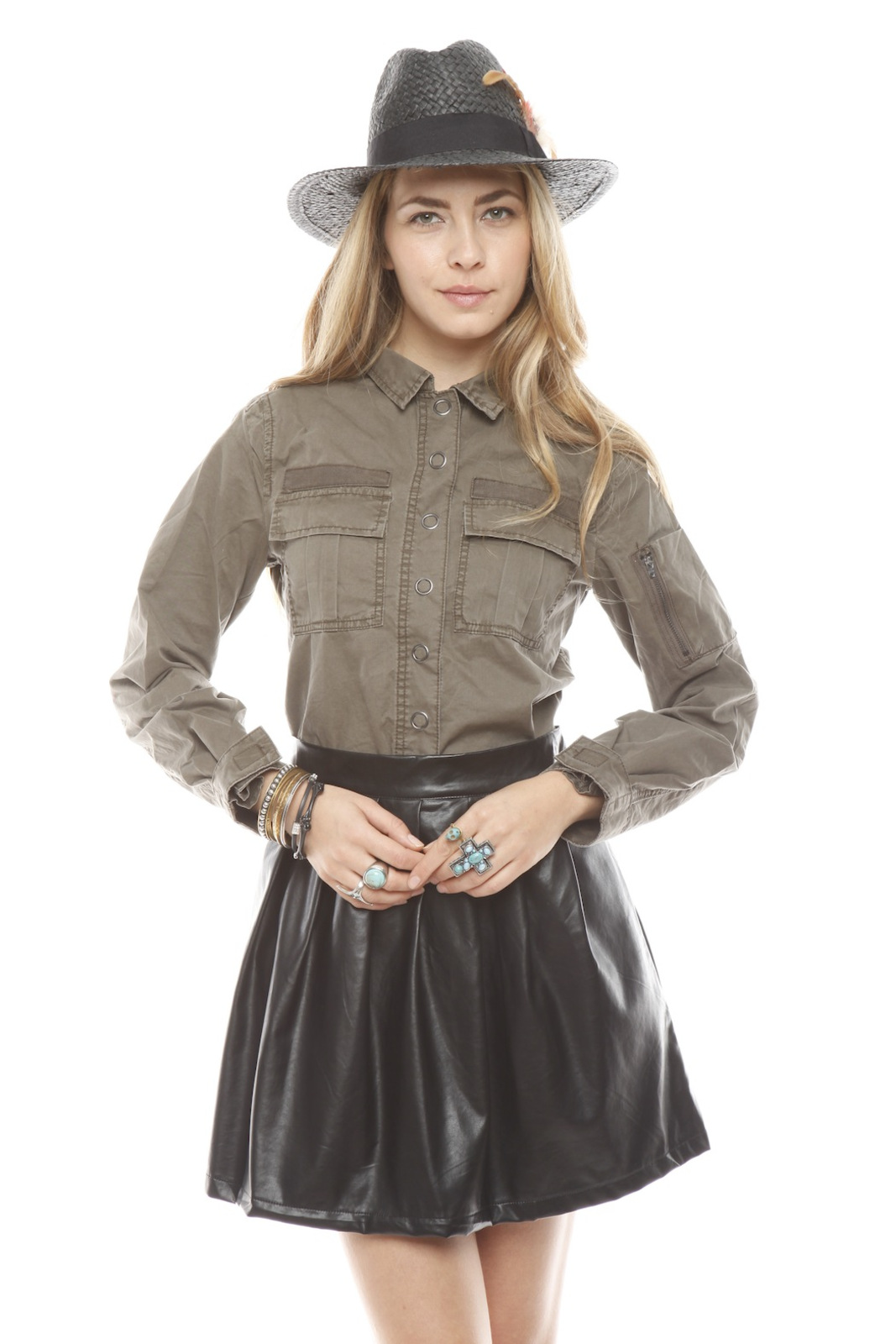 BlankNYC Snap-Front Military Shirt - Front Cropped Image