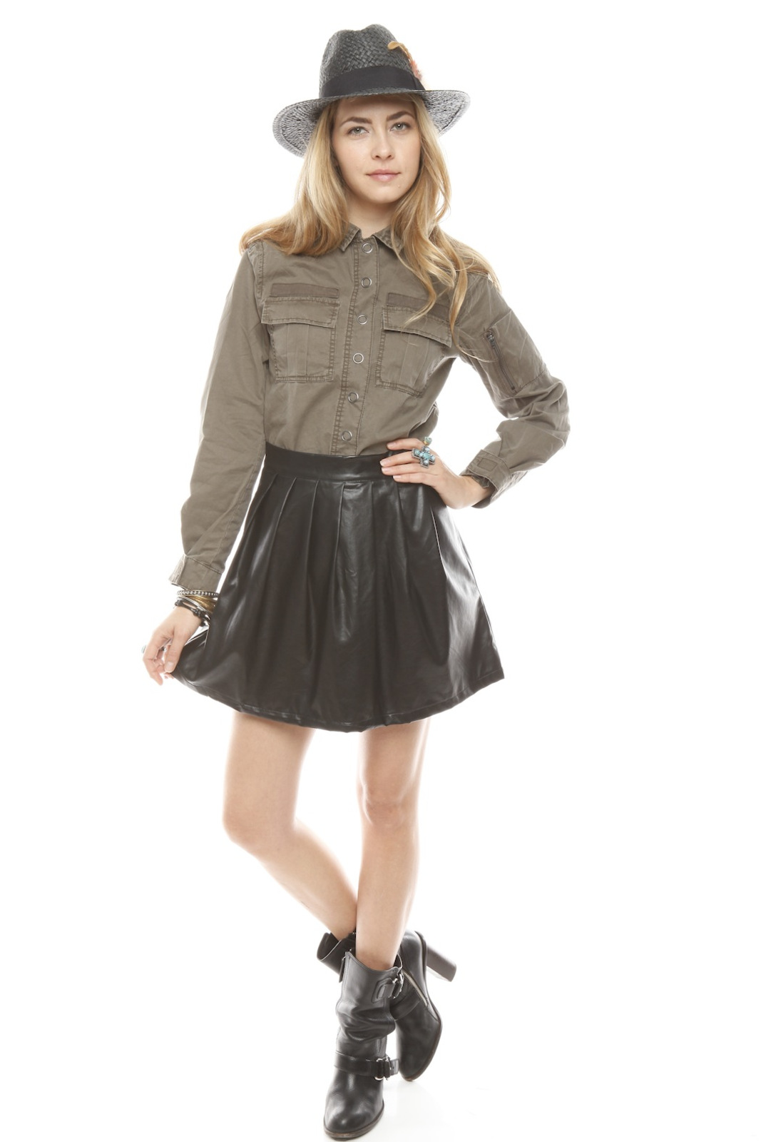 BlankNYC Snap-Front Military Shirt - Front Full Image