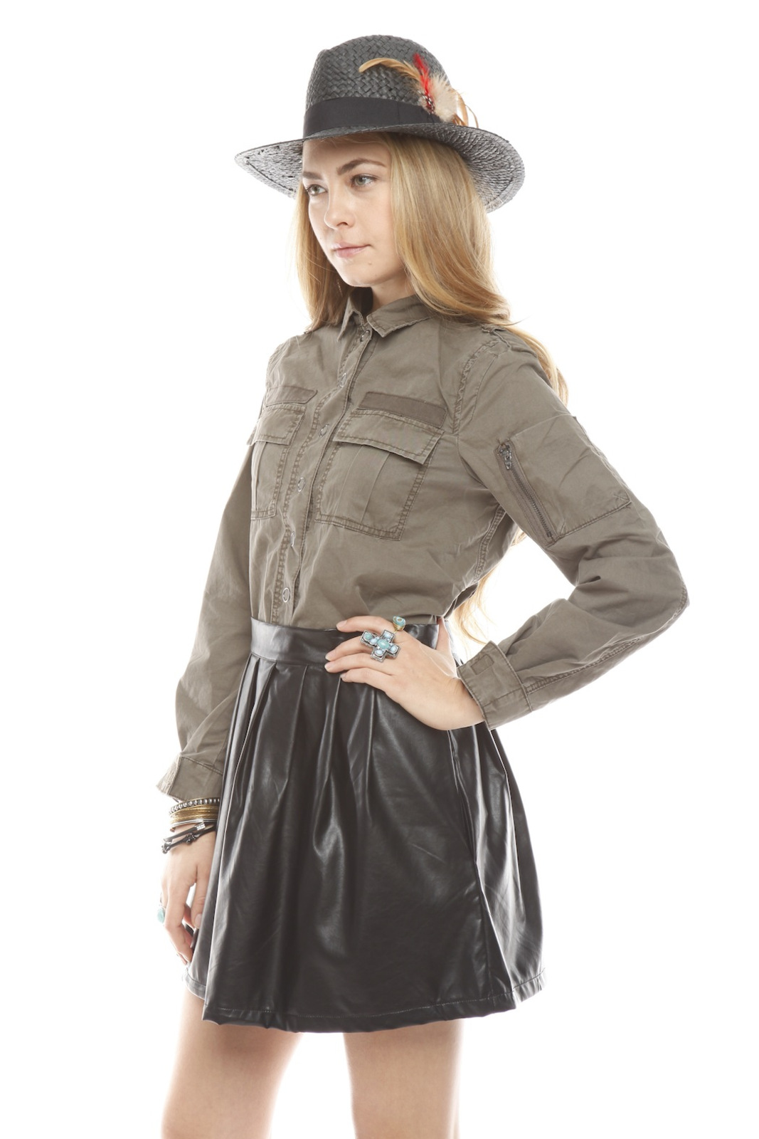 BlankNYC Snap-Front Military Shirt - Side Cropped Image