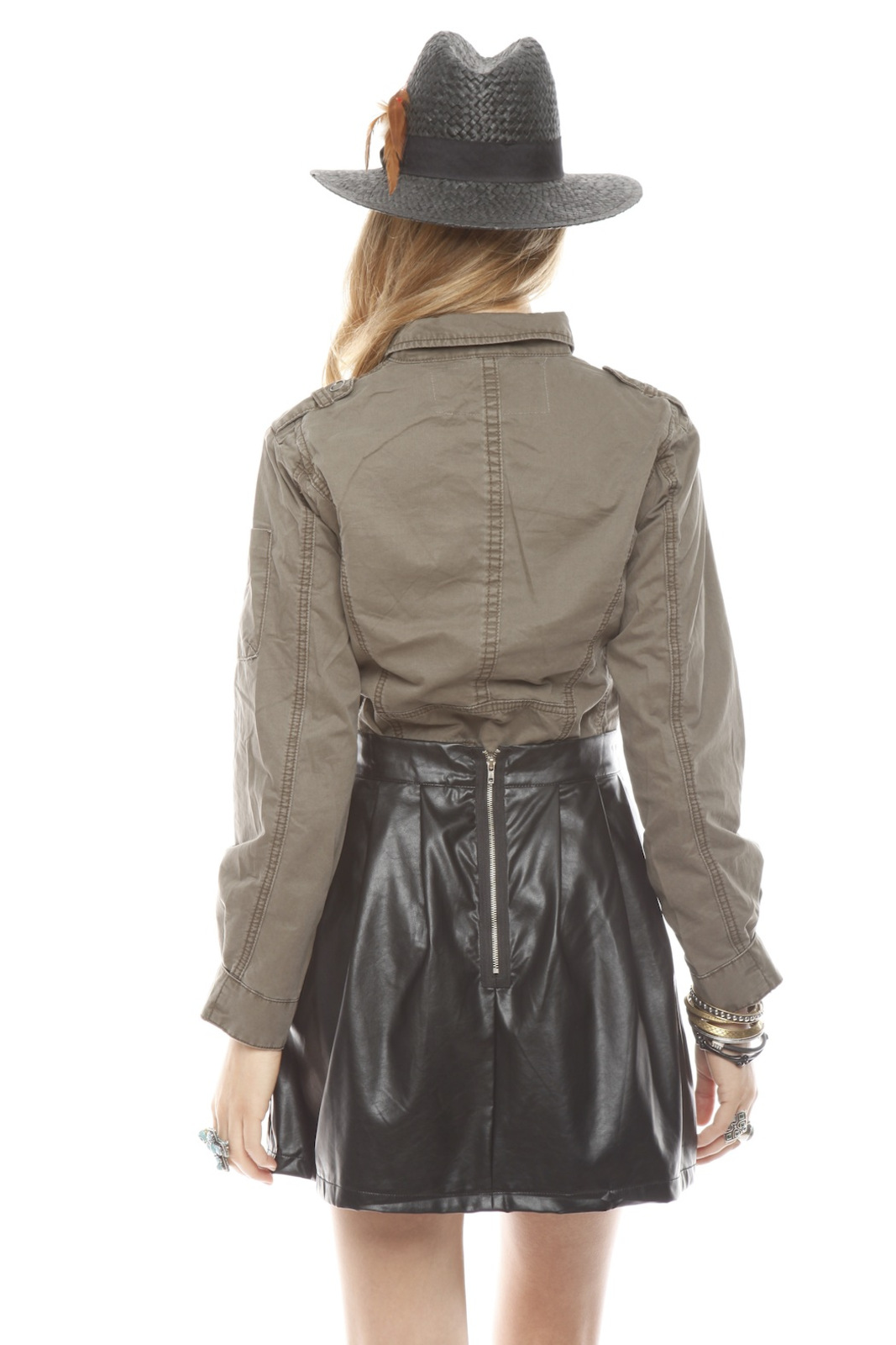 BlankNYC Snap-Front Military Shirt - Back Cropped Image