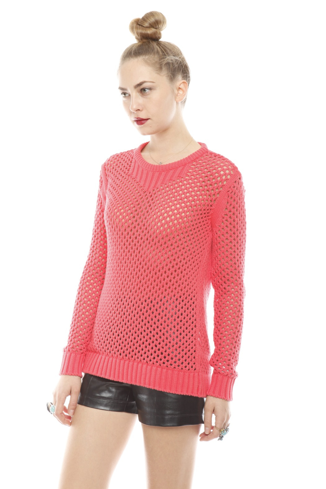 213 Industry Thick Open-Knit Sweater - Side Cropped Image