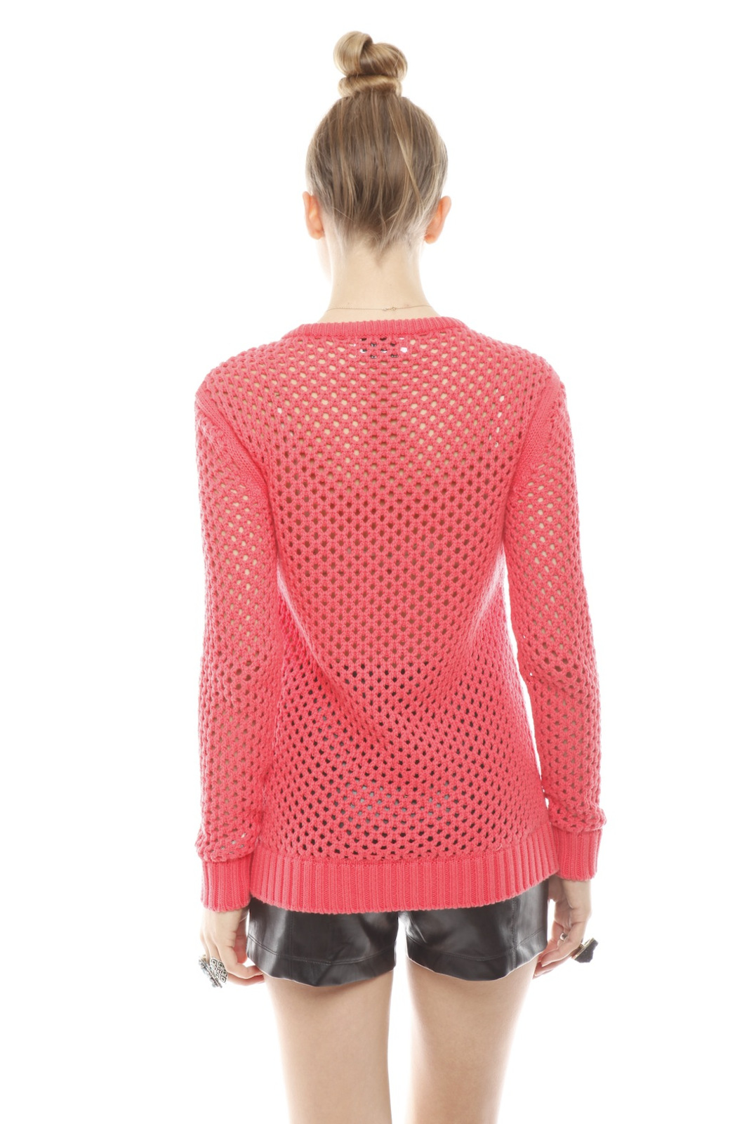 213 Industry Thick Open-Knit Sweater - Back Cropped Image