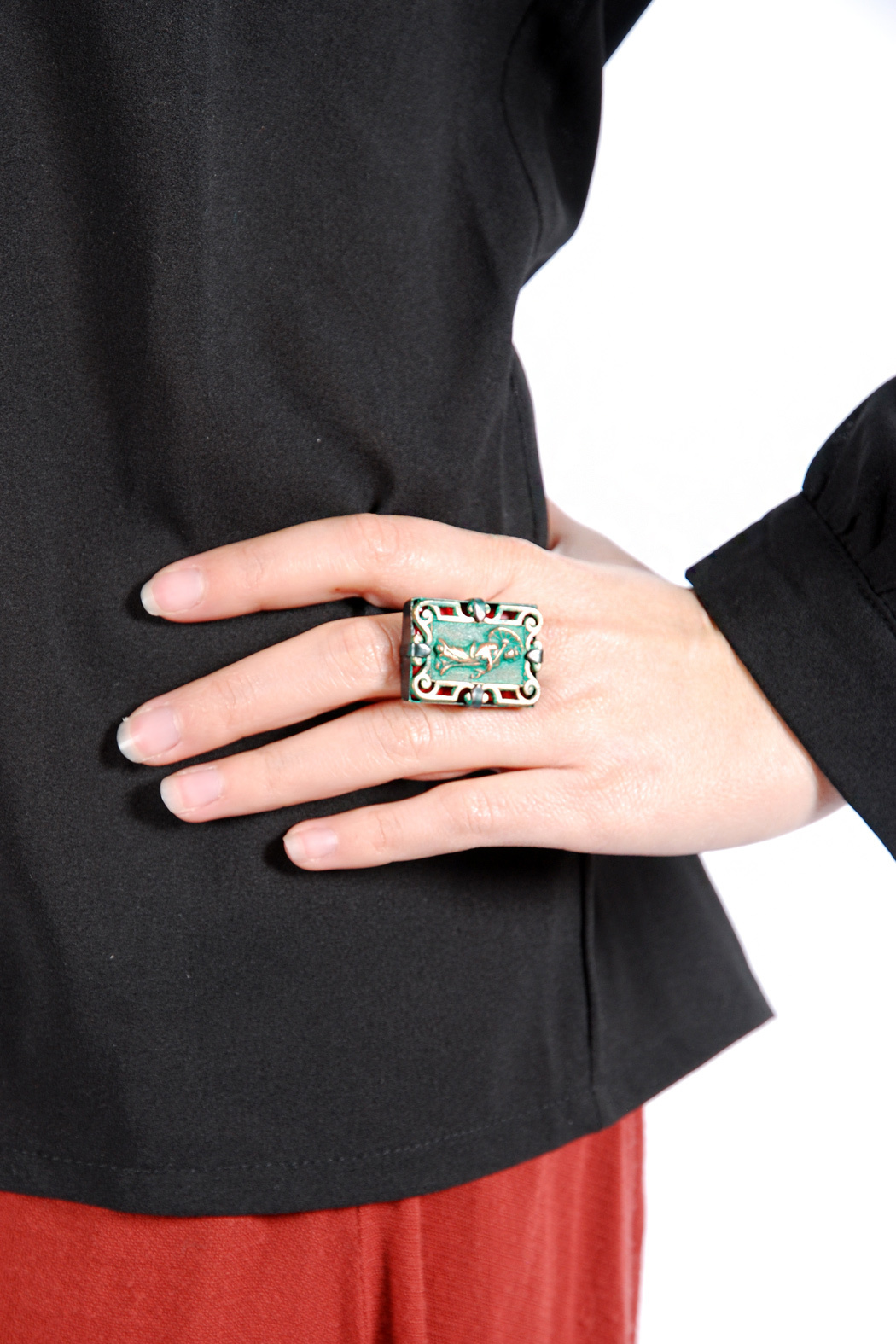 Jean-Louis BLIN Antiqued Geisha Plated Ring - Side Cropped Image