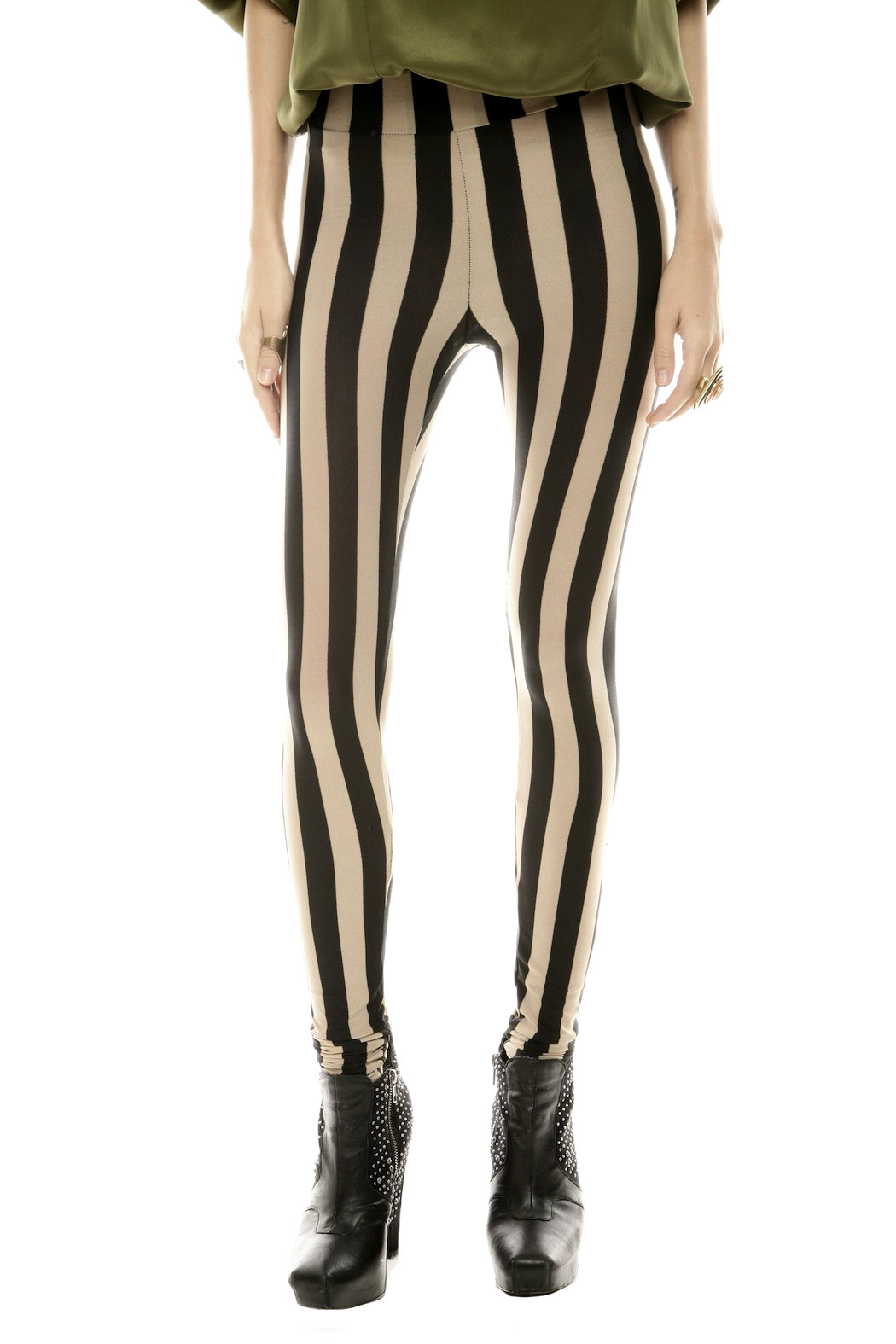 See You Monday Striped Leggings - Main Image